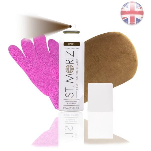 St. Moriz Spray Dark 150 ml & Premium-Applikator & Horn-Peeling Handschuh