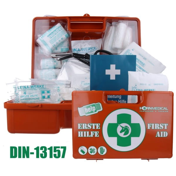 Erste-Hilfe, Erste Hilfe, Koffer, Notfallkoffer, Notfall, Verbandmittel, Verbandmaterial, DIN 13157, DIN 13169