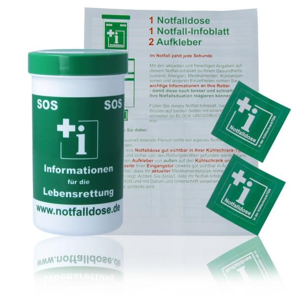 Notfalldose mit individual 1x Notfall-Infoblättern und 2x Aufklebern