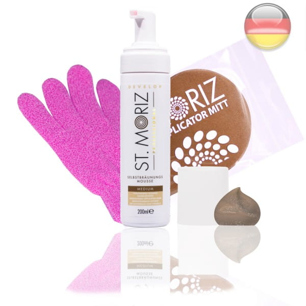 St. Moriz Mousse Medium 200 ml & Original-Applikator & Horn-Peeling Handschuh