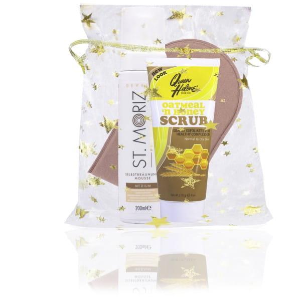 St. Moriz Mousse Medium 200 ml & Horn-Applikator & Peeling-Duschgel (Geschenk)